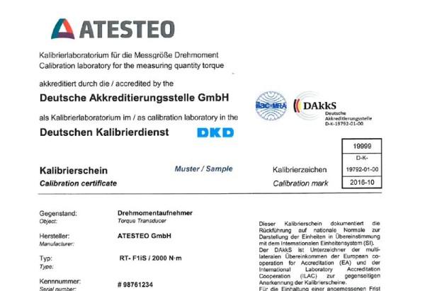 DAkkS-Kalibrierung Drehmoment-Messflansch bis 3kNm